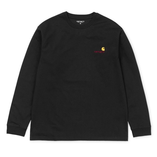 Carhartt Wip American Script Logo Embroidered Long Sleeved T-Shirt Black