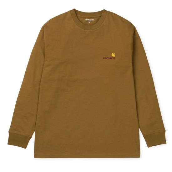 Carhartt Wip American Script Logo Embroidered Long Sleeved T-Shirt Brown