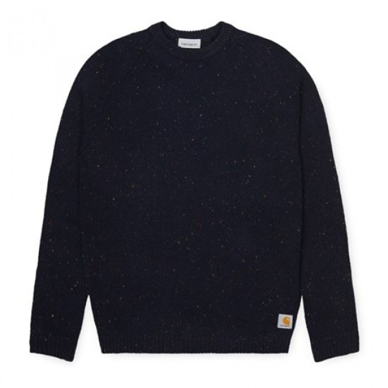 Carhartt Wip Anglistic Knit Sweater Dark Navy Heather