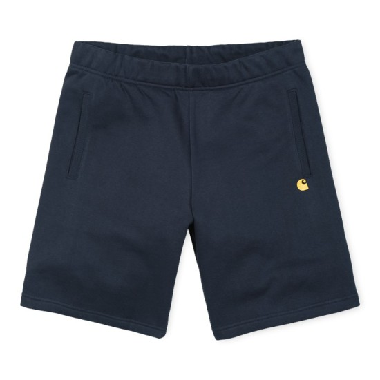 Carhartt Wip Chase Sweat Shorts Dark Navy / Gold