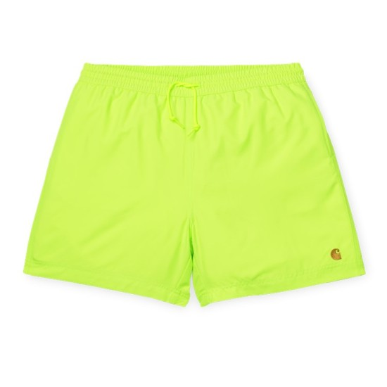 Carhartt Wip Chase Swim Shorts Lime Green / Gold