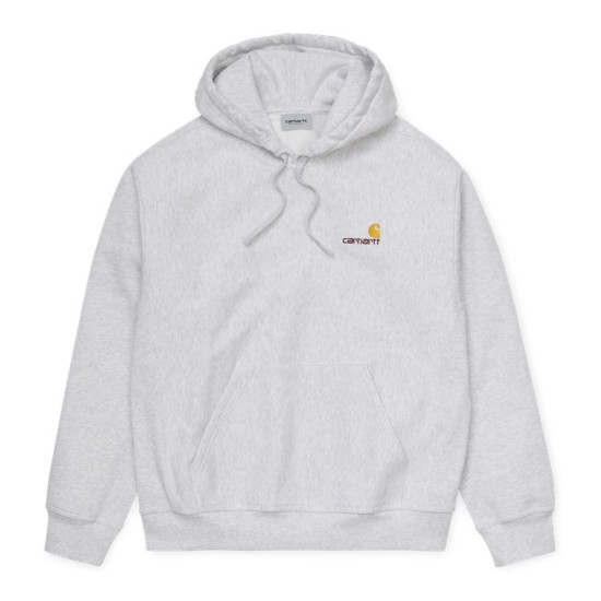 Carhartt Wip Hooded American Script Sweatshirt Ash Heather
