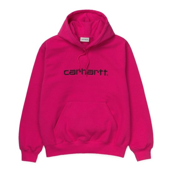 Carhartt Wip Hooded Carhartt Sweatshirt Ruby Pink / Black