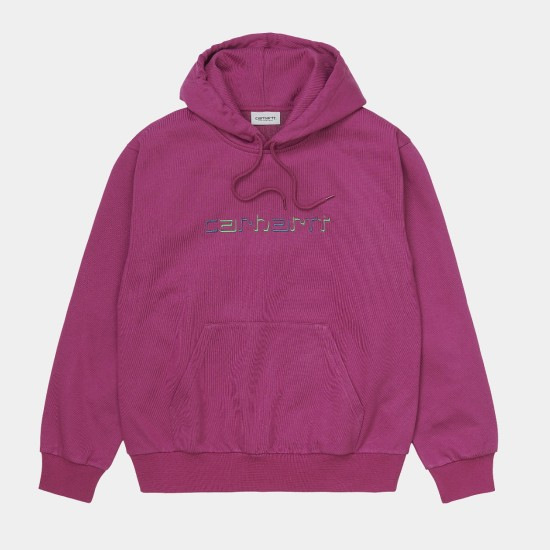 Carhartt WIP Hooded Shadow Script Sweatshirt Tulip Pink
