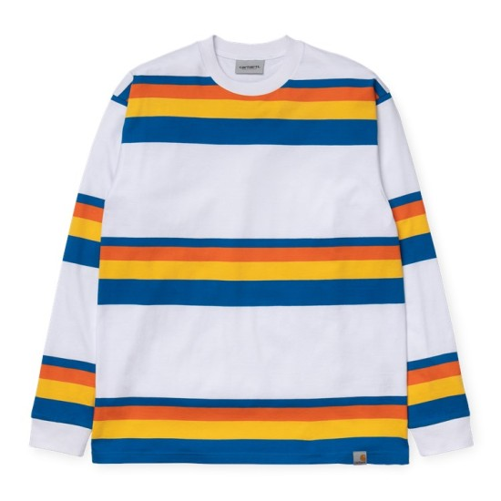 Carhartt Wip L/S Huntington T-Shirt White / Blue