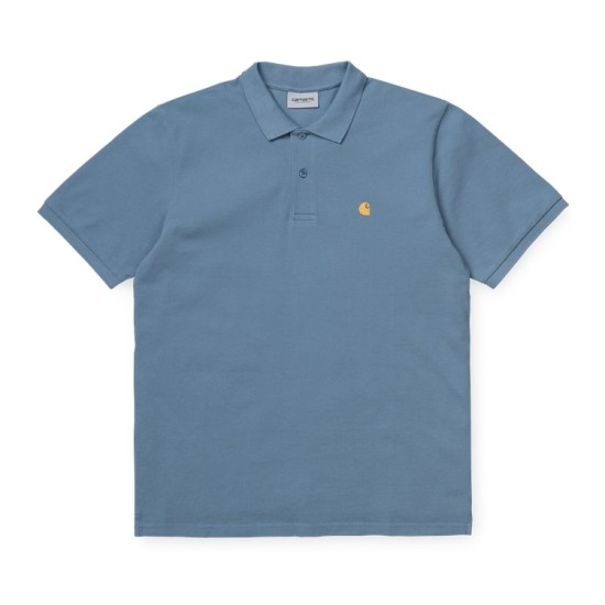 Carhartt Wip S/S Chase Pique Polo Shirt Mossa Blue / Gold