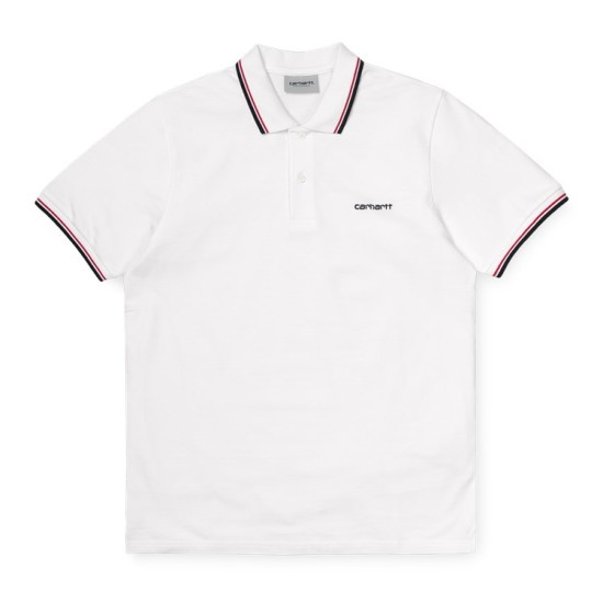 Carhartt Wip S/S Script Embroidery Polo Shirt White / Red / Navy Blue