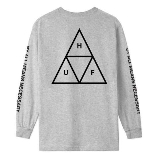 HUF Triple Triangle Essential Long Sleeve T-Shirt Grey Heather