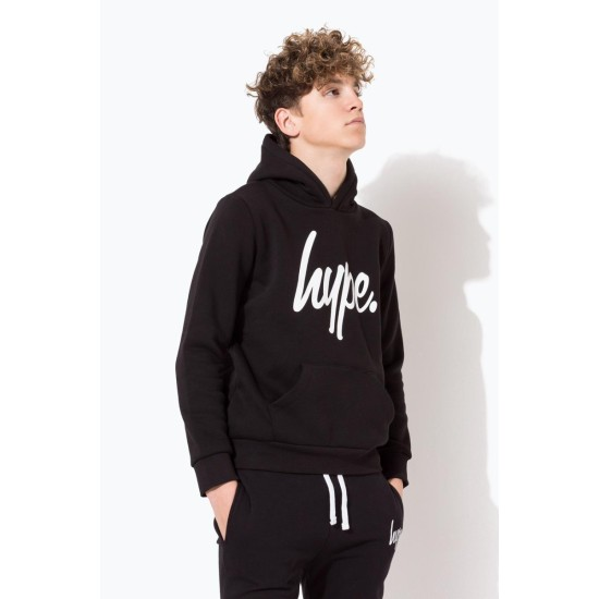 Hype Script Kids Pop Over Hoodie Black / White