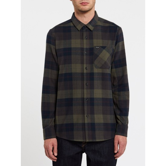 Volcom Caden Plaid Shirt Army Green Combo